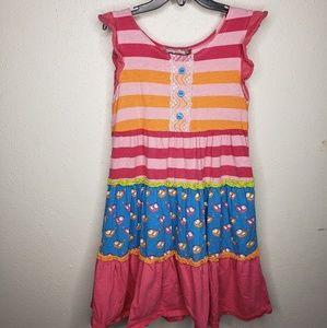 Jelly the Pug Girls 8 Dress stripes birds lace